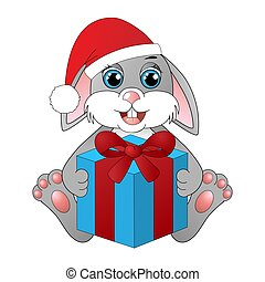 箱, かわいい, うさぎ, 贈り物, 漫画