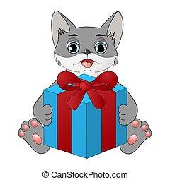 箱, かわいい, 漫画, 贈り物, ねこ