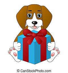 箱, かわいい, 犬, 贈り物, 漫画