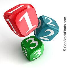 箱, さいころ, 2, 1(人・つ), 数, 3