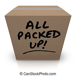 箱, すべて, 再配置, の上, 引っ越し, ボール紙, パックされた