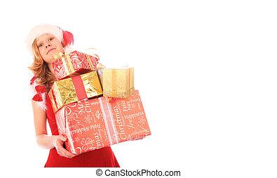 箱, すべて, 権利, whitespace, 贈り物, 上, -, 背中, たくわえ, 箱, santa, 傾倒, 落ちる, バランス, お嬢さん