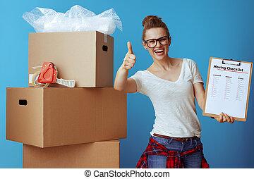 箱, の上, チェックリスト, ボール紙, 提示, 引っ越し, 女, 親指
