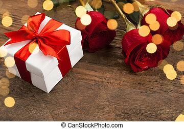 箱, ばら, 贈り物, 赤