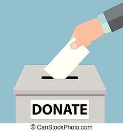 箱, アイコン, お金, concept., -, 手, 寄付, ベクトル, パッティング, コイン, 慈善