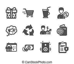 箱, アイコン, セット, そのような物, 贈り物, ベクトル, クリスマス, ビジネス, speakers., カレンダー