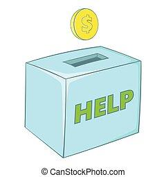 箱, アイコン, 寄付, スタイル, 漫画
