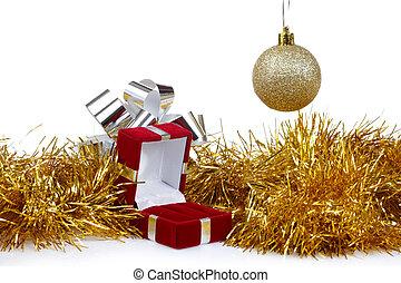 箱, イヤリング, クリスマスの ギフト