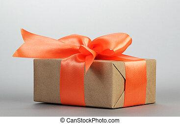 箱, オレンジ, ギフトの弓