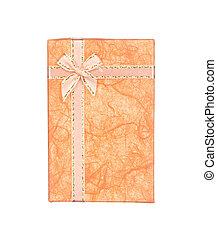 箱, オレンジ, リボン, ギフトの弓