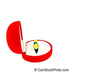 箱, カプセル, 贈り物, 見通し, ビロード, 側, 赤