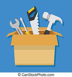 箱, カートン, ベクトル, 道具, 仕事