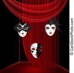 箱, カーニバル, black-white, マスク, 3, black-red