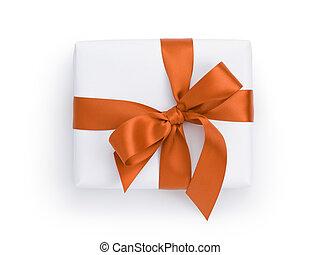 箱, ギフトの弓, の上, オレンジ, 白いリボン