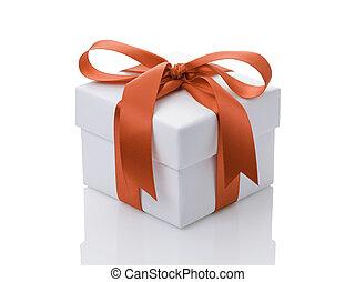 箱, ギフトの弓, オレンジ, 白いリボン