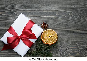 箱, ギフトの弓, 木, テーブル, 赤