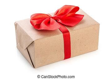 箱, ギフトの弓, 隔離された, ペーパー, 赤い背景, 包まれた, 白, クラフト, リボン