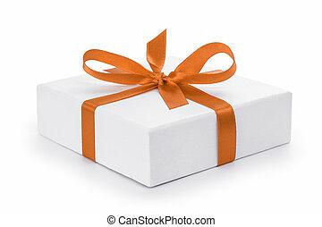 箱, ギフトの弓, textured, オレンジ, 白いリボン
