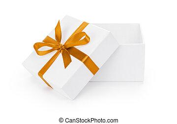 箱, ギフトの弓, textured, オレンジ, 白, 開いた, リボン