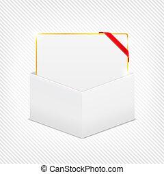 箱, ギフトカード, コーナー, ボール紙, リボン, 赤