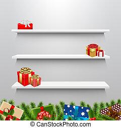 箱, クリスマスの ギフト, 棚