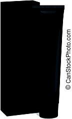 箱, クリーム, mockup, toothpaste., チューブ, -, プラスチック, 包装, 薬, ベクトル, 黒, 化粧品, テンプレート, スキンケア, ゲル, ∥あるいは∥