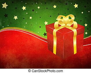 箱, グランジ, 背景, 贈り物
