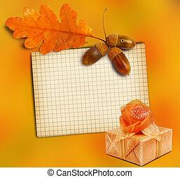 箱, グランジ, 贈り物, 木製である, 葉, オーク, 秋, ペーパー, 背景, 古い