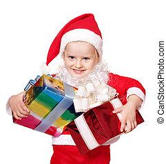箱, グループ, 保有物, 贈り物, 衣装,  santa, 子供