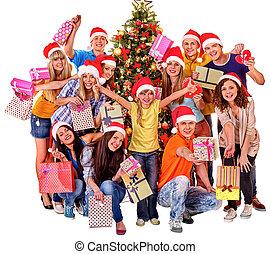 箱, グループ, 贈り物, 人々, 木。, 成人, クリスマス, 子供