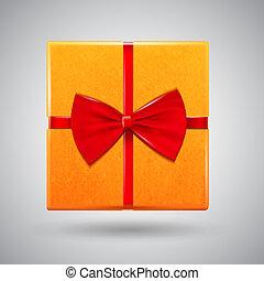 箱, グロッシー, 赤, プレゼント, 弓