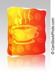 箱, コーヒーカップ, イラスト, パッケージ