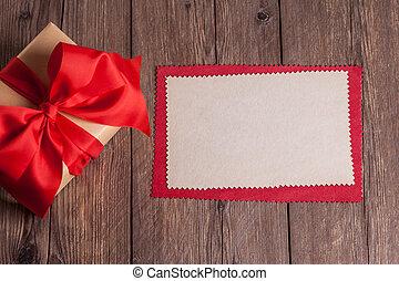 箱, シート, 贈り物, 木製である, ペーパー, 背景