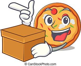 箱, スタイル, 特徴, 漫画, ピザ