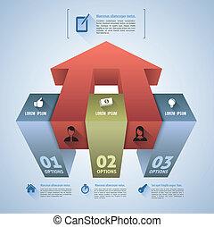 箱, ステップ, 3d, infographics