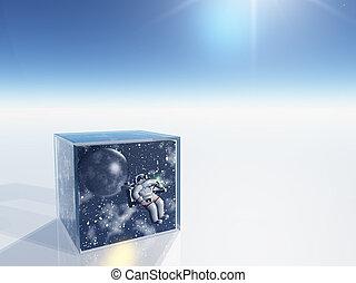 箱, スペース, ゆとり, 現場, 超現実的, 宇宙飛行士, 捕獲される