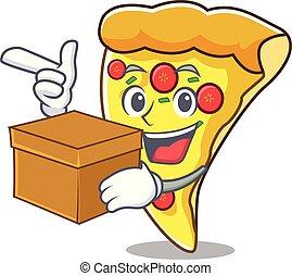 箱, スライス, 特徴, 漫画, ピザ