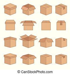 箱, セット, アイコン, 抽象的, ベクトル, 線