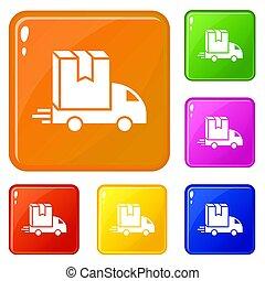 箱, セット, アイコン, 色, 配達トラック