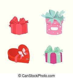 箱, セット, ギフトの弓, ベクトル, リボン, 漫画, プレゼント