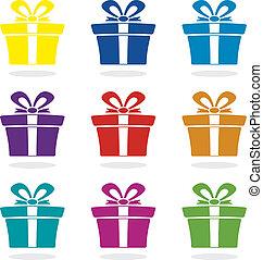 箱, セット, ベクトル, 贈り物, アイコン