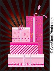 箱, セット, 光線, 贈り物