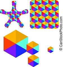 箱, セット, 色, 抽象的, ベクトル, ロゴ