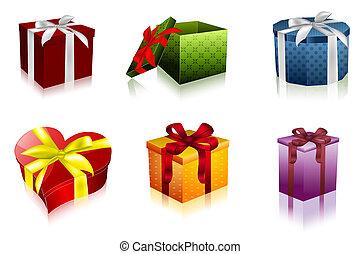 箱, セット, 贈り物