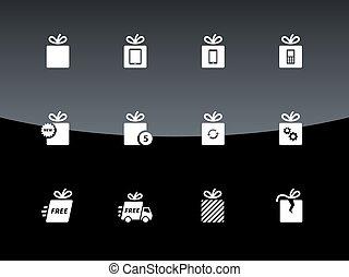 箱, セット, 贈り物, バックグラウンド。, ベクトル, 黒
