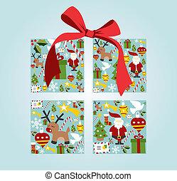箱, セット, 贈り物, 形, クリスマス, アイコン