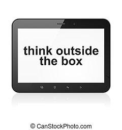 箱, タブレットの pc, 外, コンピュータ教育, 考えなさい, concept: