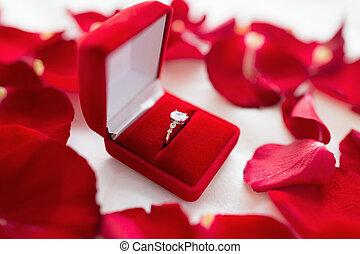 箱, ダイヤモンド, シート, 贈り物, ベッド, ビロード, リング, 赤