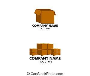 箱, テンプレート, ロゴ, セット, ボール紙, イラスト, デザイン, ベクトル