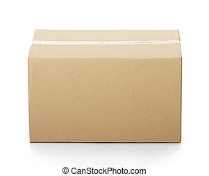箱, テープに取られた, ボール紙, の上, 閉じられた